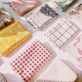 Hongbo 1 Pcs Plaid Cotton Placemat Japanese Fashion Style Fabric Table Napkins