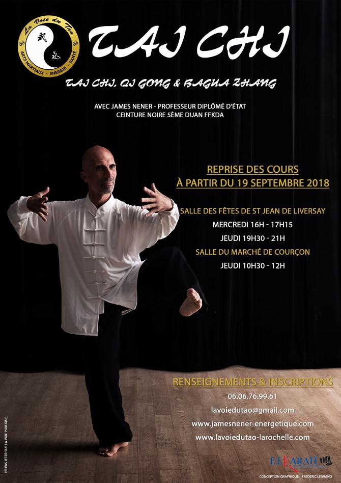 Reprise des cours de Tai Chi, Qi Gong et Bagua Zhang le 19 Septembre 2018. On vous attend nombreux!