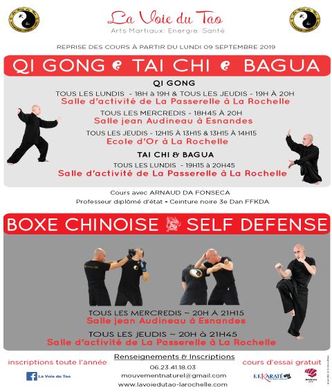 Cous de Qi Gong, Tai Chi Chuan, Bagua Zhang, Boxe Chinoise - Self défense à La Rochelle et Esnandes