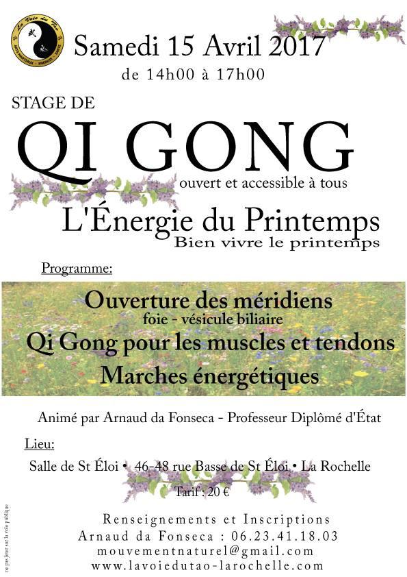 Stage de Qi Gong le 15 Avril 2017 à La Rochelle