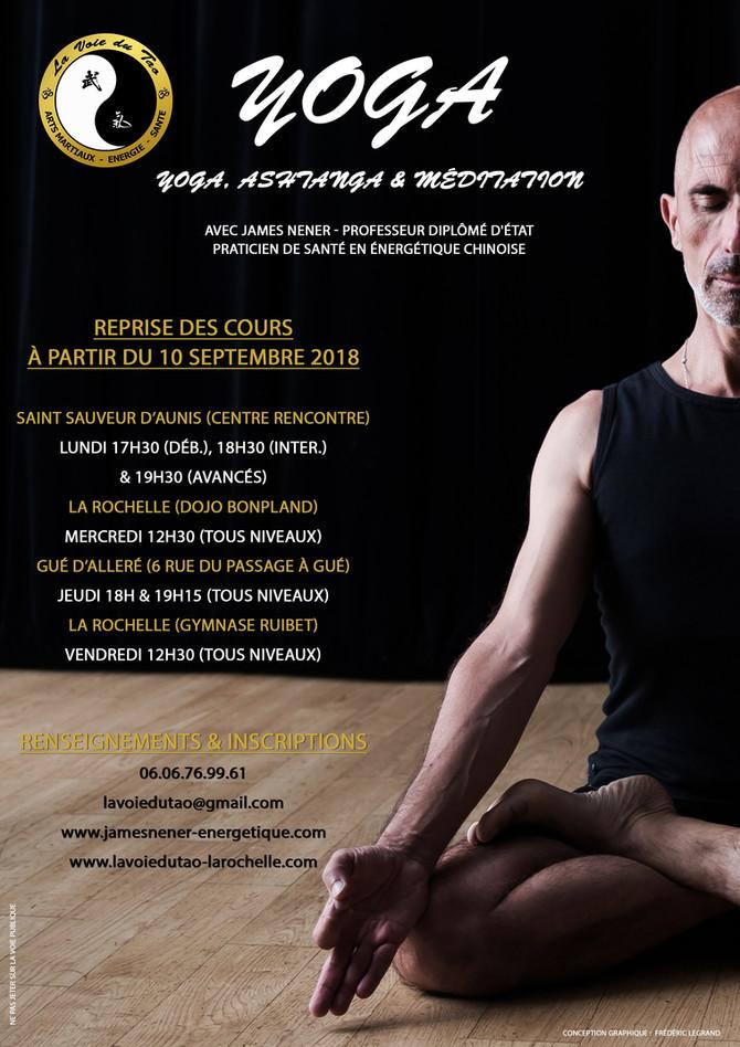 Reprise des cours de Yoga le 10 Septembre 2018. On vous attend nombreux!