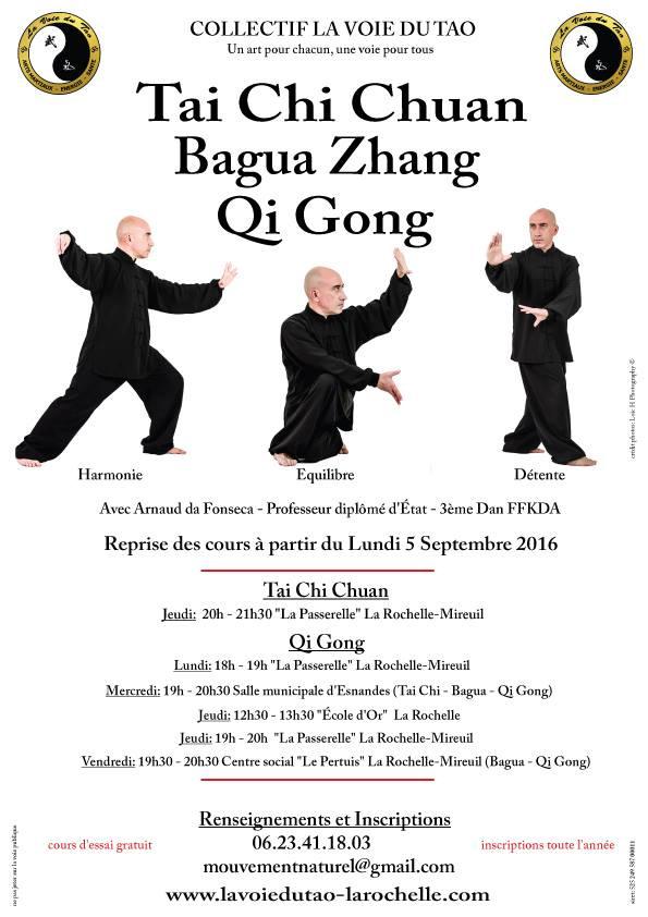 Reprise des cours de Tai Chi, Bagua et Qi Gong, dès le lundi 5 Septembre sur La Rochelle et Esnandes