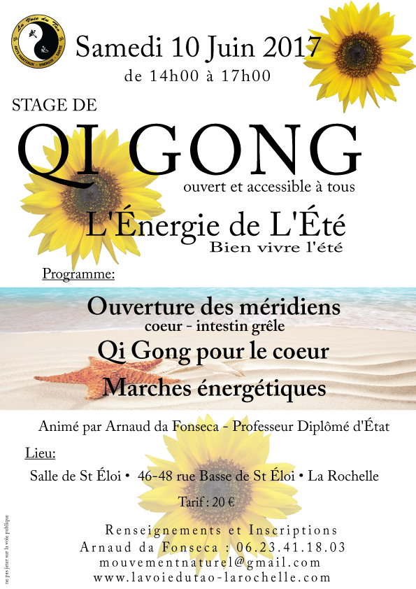 Stage de Qi Gong le 10 Juin 2017 à La Rochelle