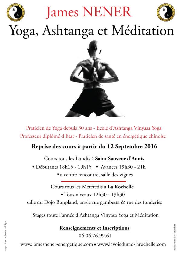 Reprise des cours de Yoga sur Saint Sauveur et La Rochelle à partir du 12 Septembre 2016