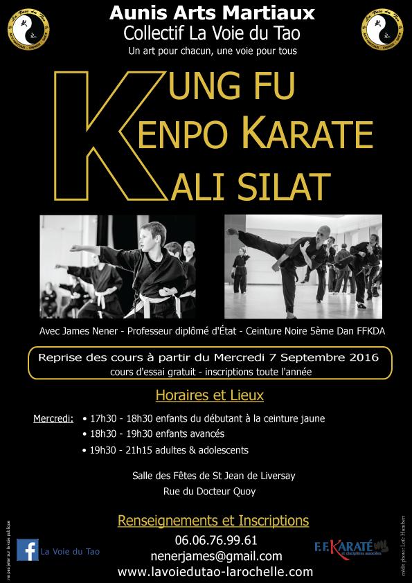 Reprise des cours de Kung Fu - Kenpo Karaté et Kali Silat, adultes et enfants, le Mercredi 7 Septemb
