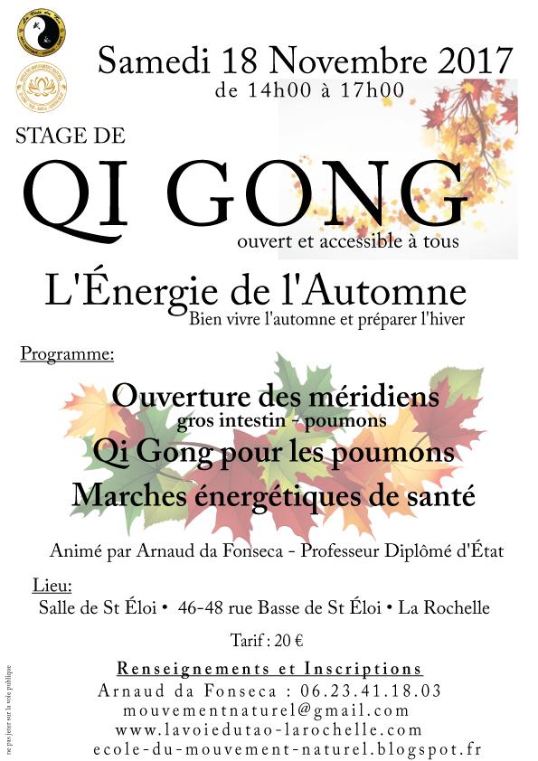 """Stage de Qi Gong """"l'énergie de l'automne"""", Samedi 18 Novembre 2017"""