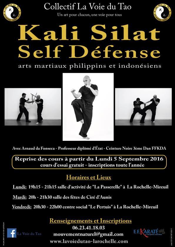 Reprise des cours de Kali Silat - Self Défense, dès le 5 Septembre sur La Rochelle et Ciré d'Aun