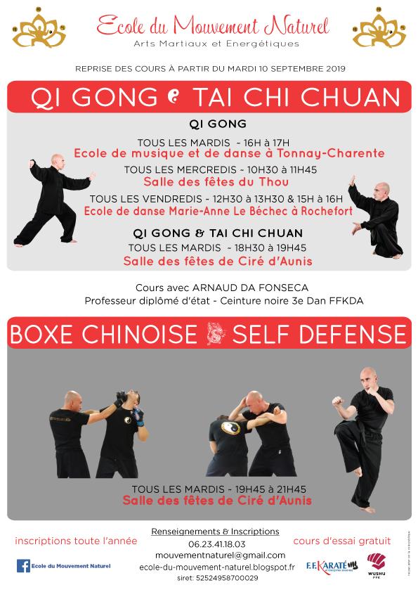 Cous de Qi Gong, Tai Chi Chuan, Boxe Chinoise - Self défense à Ciré d'Aunis, Tonnay Charente, Le