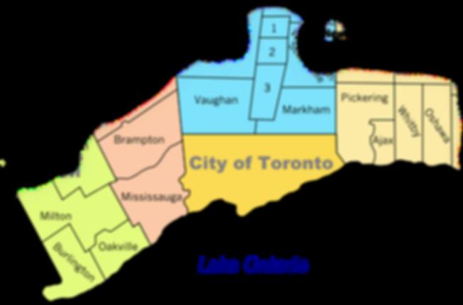 Toronto, Scarborough, North York, York, East York, Etobicoke, Oakville, Mississauga, Brampton, Vaughan, Woodbridge, Richmond Hill, Aurora, Newmarket, Markham,Thornhill, Pickering, Ajax, Whitby, Oshawa