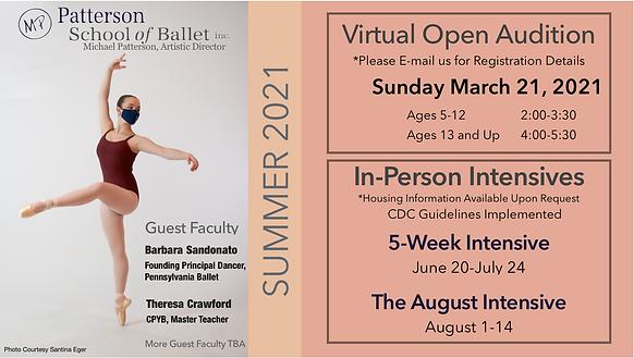 Summer 2021 Virtual Open Audition