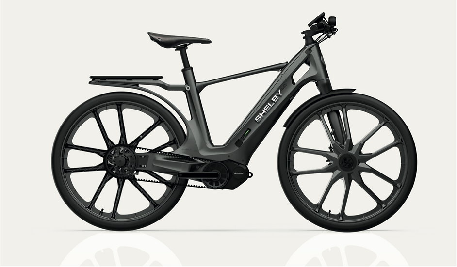 Shelby E-Bike Gunmetal Grey with Black Stripes