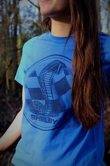 Shelby Checkered Flag Royal Blue T-Shirt