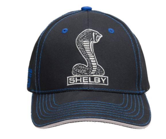 Super Snake Black Hat with Blue Stitching