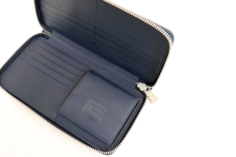 Leather Long Wallet Navy