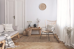 Armchair on rug next to bench with plant