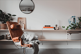 Skandinavisk interior design av vardagsrum