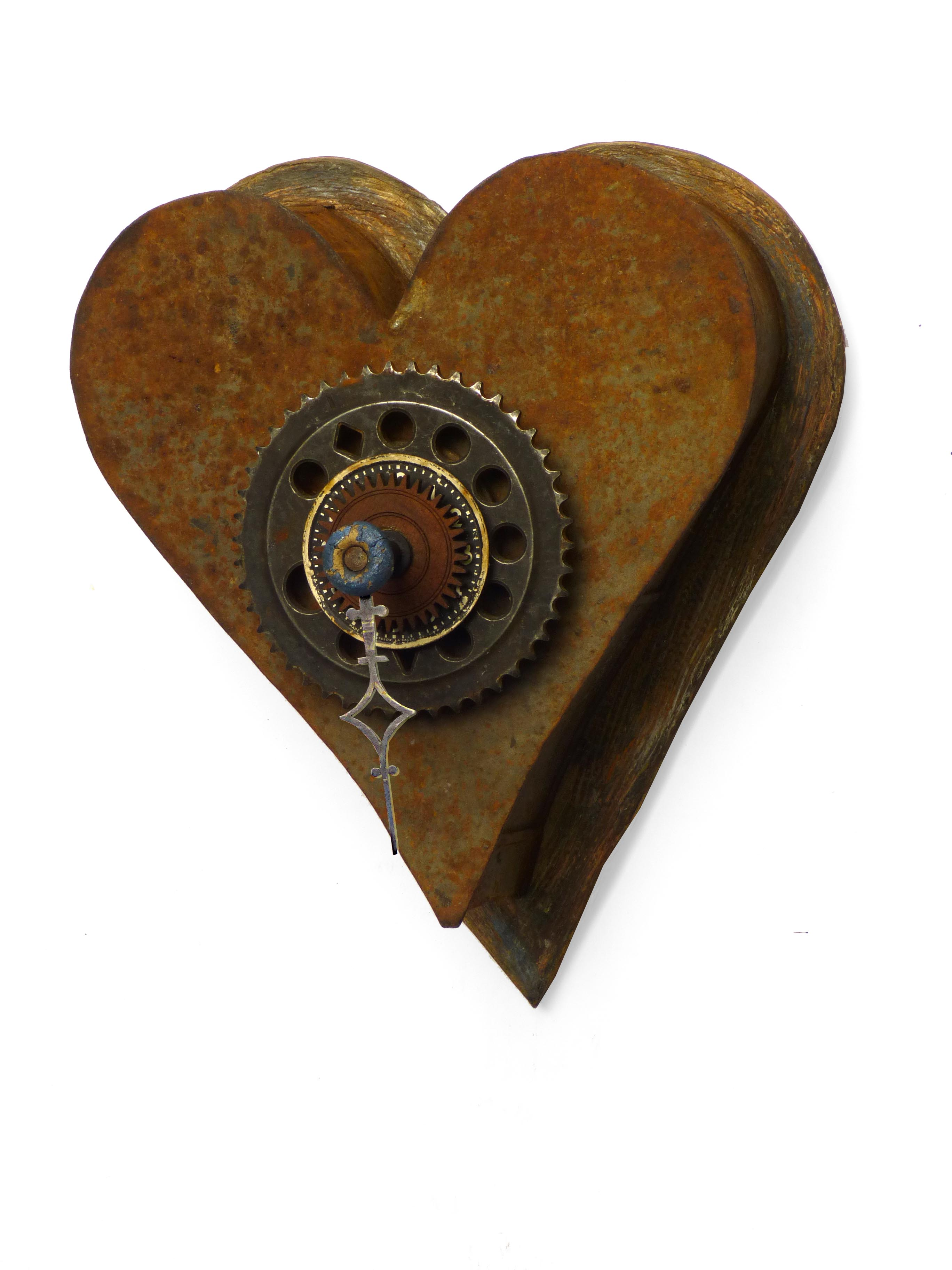 Heart on the Wall Ceramic/Found Objects.