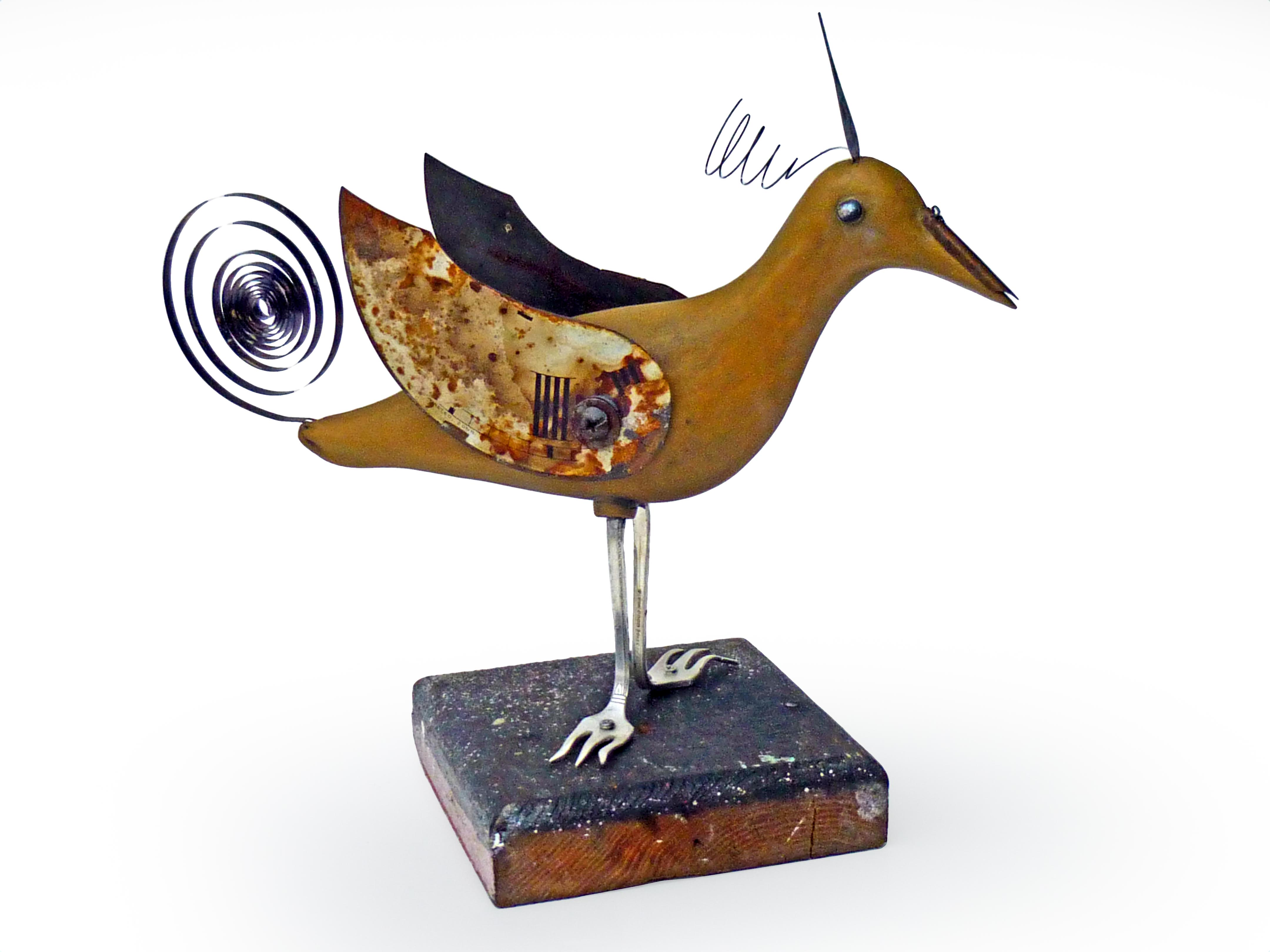 Taking Off Bird - Ceramic/Found Objects