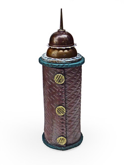Purple Tower Vessel with Assembled Metal Lid