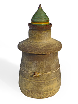 Lidded Vessel with Vintage Toy Top