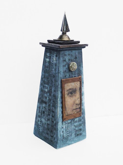 Tower Vessel with Vintage Portrait