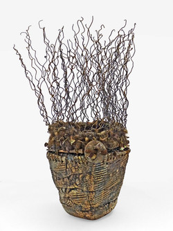 Brown Stained Ceramic Vessel with Woven Metal, Fiber and Found Objects