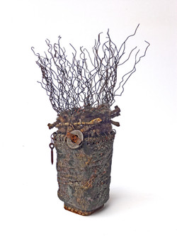 Tall Woven Vessel with Fiber/Metal/Found Objects