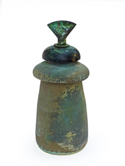 Green Vessel with Assembled Metal Lid