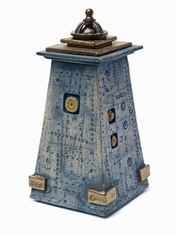 Tall Blue Oxide and Glazed Tower Vessel