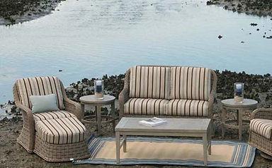 ... Bellevue Loveseat, Club Chair And Club Swivel Rocker With Portofino  Round End Tables And Portofino ...