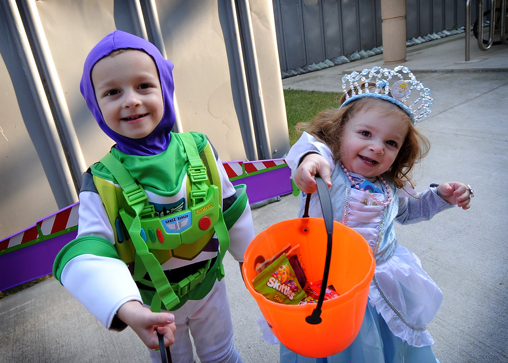 Kids in Halloween Costumes Trick-or-treating