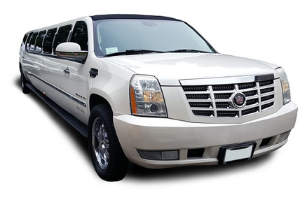 Pearl Diamond White Stretch Escalade with Hardwood Floors