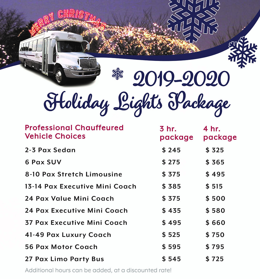 Party Bus Prices - Infographic of prices for party buses