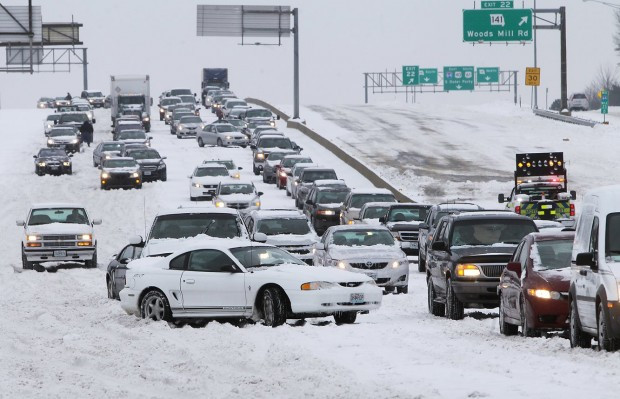 St. Louis Highway Winter Traffic Jam in Snow