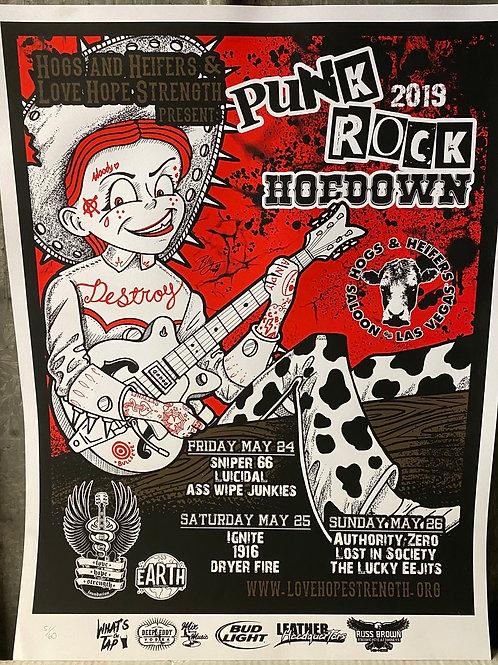 2018 Punk Rock Hoedown Poster Art by Bill Herring