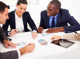 group of business people having meeting