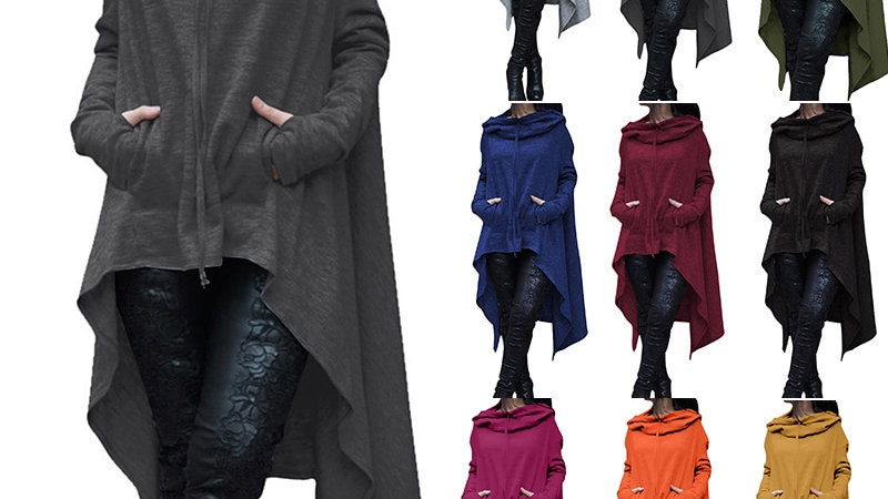 Women Autumn Winter Pocket Mantle Hooded Long Pullover Female Casual Rope Top