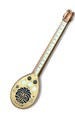 A brass and wooden instrument with several white buttons and two black knobs.
