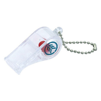 1020-C TRANSLUCENT CLEAR WHISTLE W/ COLOR BEAD