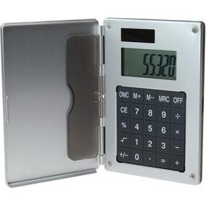 6113 ALUMINUM CARD CASE W/ SOLAR CALCULATOR