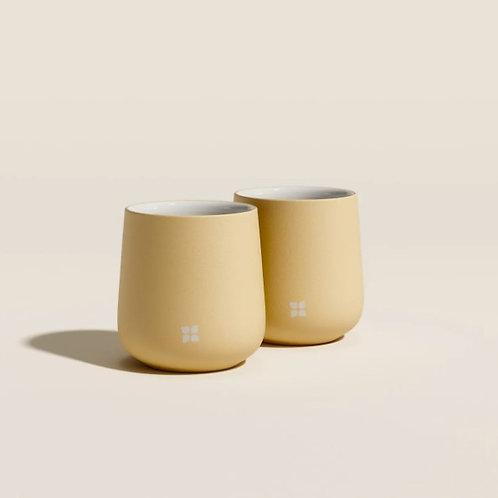 Set de deux tasses jaune pâle