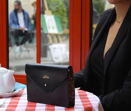 Pochette ceinture Angèle  cuir noir/mordoré avec Bandoulière