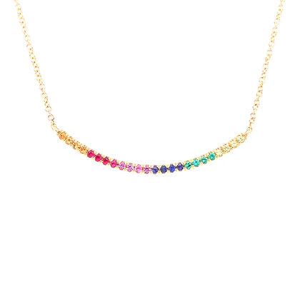 Bassali 14KY Rainbow Multi-Color Sapphire Necklace