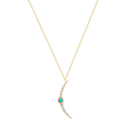 14KY NORA | Turquoise & White Sapphire Crescent Moon Necklace