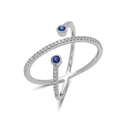 18KW Crossover Sapphire & Diamond Ring
