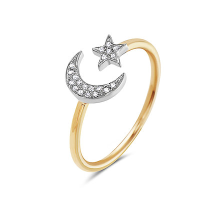 Bassali 14KW&Y Star & Moon Diamond Ring