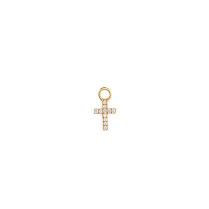 14KY ESTHER | Diamond Cross Earring Charm