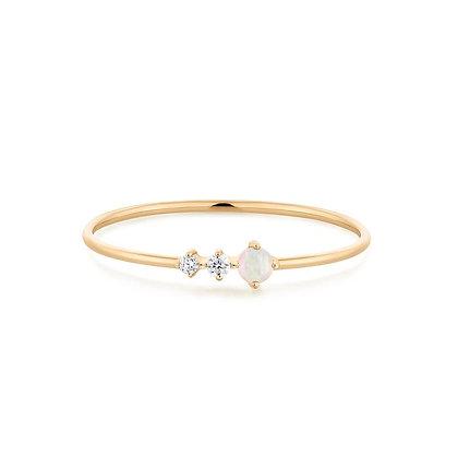 14KY VERA | Diamond and Opal Ring