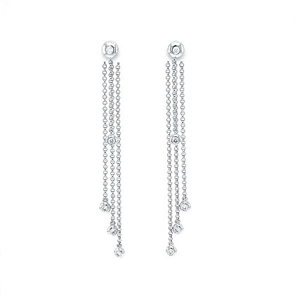 14KW Bezel-Set Diamond Rain Drop Earrings