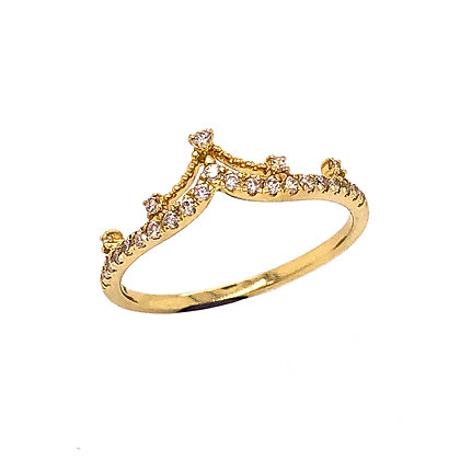 14K Yellow Gold Diamond Crown Ring